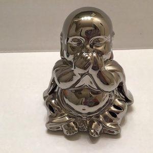 Buddha Figurine Silver Ceramic